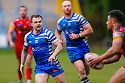 Halifax RLFC scrum half Ben Johnston (7) in action  during the Betfred Championship match between Halifax RLFC and London Broncos at the MBi Shay Stadium, Halifax, United Kingdom on 8 April 2018. Picture by Simon Davies.