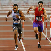 Orlando Ortega (Spain), winner of the Men's 110m Hurdles,   Wenjun Xie (China), during the IAAF Diamond League event at the King Baudouin Stadium, Brussels, Belgium on 6 September 2019.