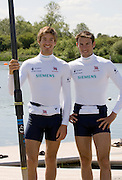 Caversham, Reading, GBR LM2X, left, Zac PURCHASE and Mark HUNTER, GB Rowing Team Training at Redgrave Pinsent Lake, Engand [Credit Peter Spurrier/Intersport Images]  [Mandatory Credit, Peter Spurier/ Intersport Images]. , Rowing course: GB Rowing Training Complex, Redgrave Pinsent Lake, Caversham, Reading