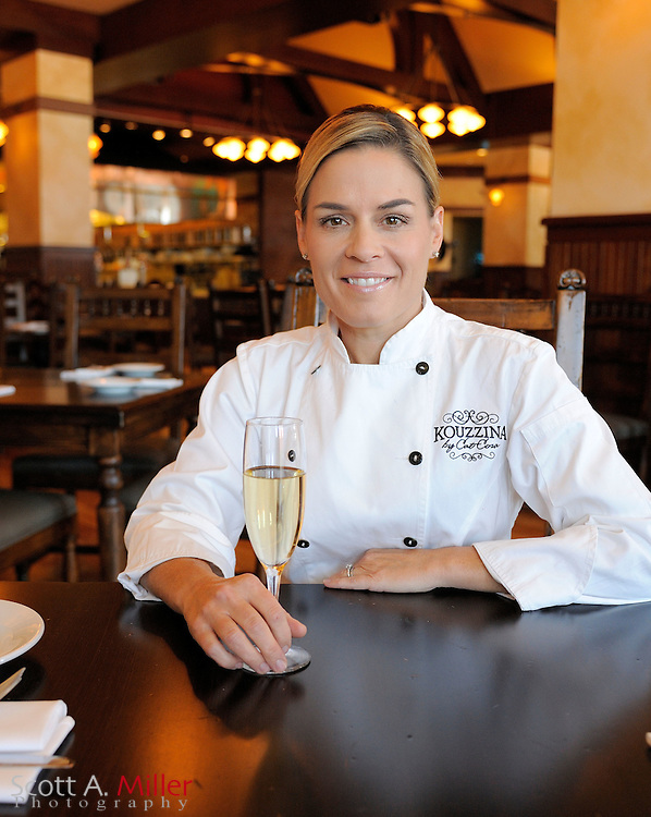 "Oct. 28, 2010; Lake Buena Vista, Fla.:  Chef Cat Cora at her restaurant Kouzzina by Cat Cora at Disney's Boardwalk. Cora an American professional chef best known for her featured role as an ""Iron Chef"" on the Food Network television show Iron Chef America..©2010 Scott A. Miller"