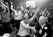 Patients engage in movement activities at the Alzheimer's Association of San Diego on Friday, February 26, 2016 in San Diego, California.(Photo by Sandy Huffaker for STAT News)