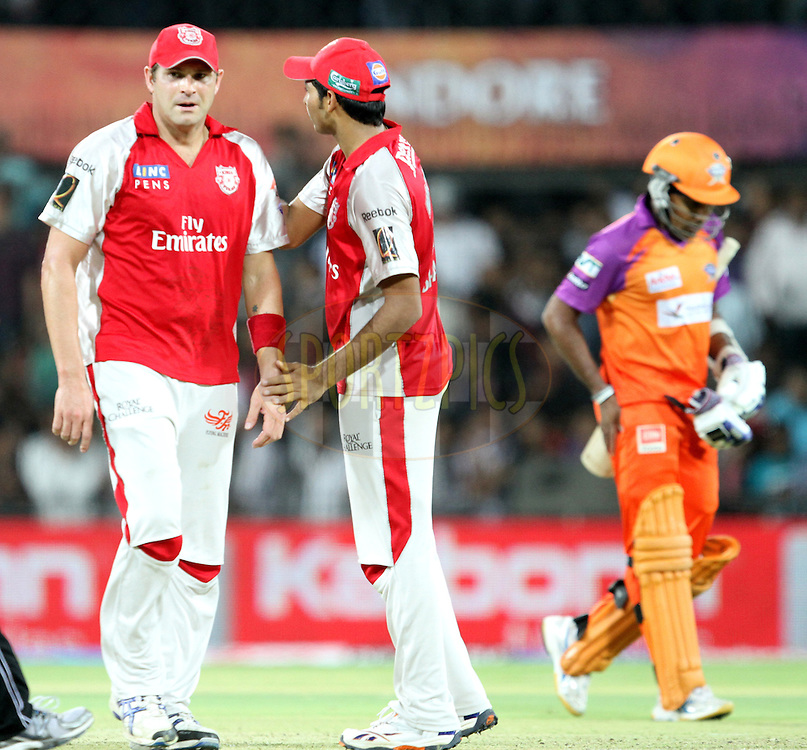 KXIP players celebrates wicket of KTK's M. Jayawardene  during match 57 of the Indian Premier League ( IPL ) Season 4 between the Kochi Tuskers Kerala and the Kings XI Punjab held at the Holkar Stadium in Indore, Madhya Pradesh, India on the 13th May  2011..Photo by Prashant Bhoot/BCCI/SPORTZPICS