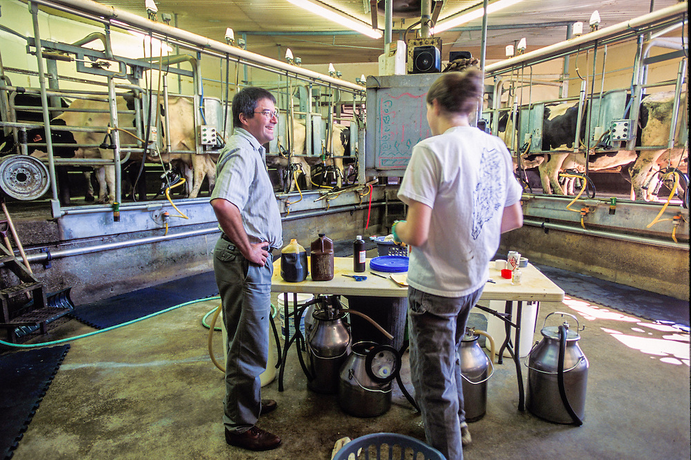Man and woman standing in the milking parlor of a dairy barn.