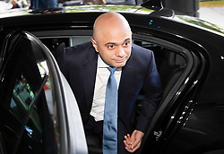 © Licensed to London News Pictures. 15/06/2019. London, UK. Conservative Party leadership candidate, Home Secretary Sajid Javid arrives at a hustings event in central London. The remaining candidates in the leadership race will face a second round of votes in Parliament on Tuesday next week. Photo credit: Peter Macdiarmid/LNP