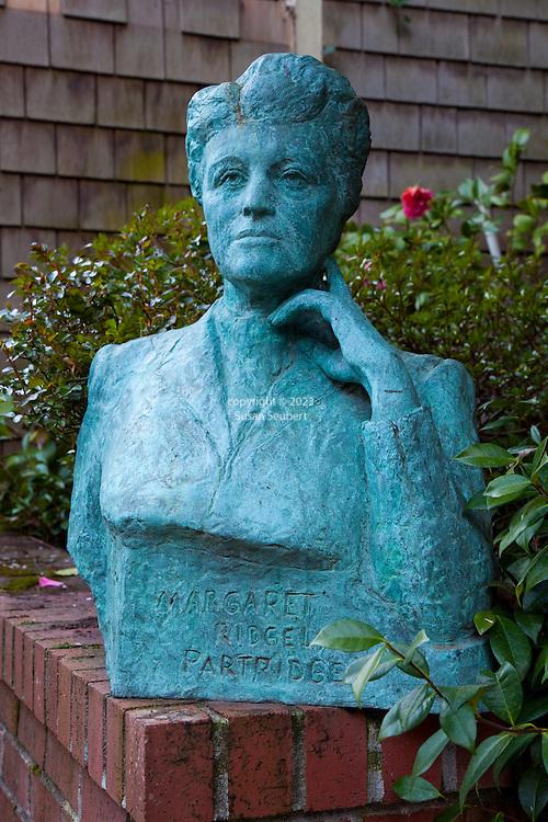 The Portland, Oregon home of Wendy Burden, author of  the memoir, Dead End Gene Pool.  The back yard garden which features a bronze bust of Ms. Burden's grandmother, Margaret Partridge Burden.