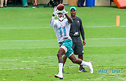 Miami Dolphins wide receiver DeVonte Parker(11)catches a pass while wide receivers coach Karl Dorrell watches coach  during Minicamp at the Baptist Health Training Facility at Nova Southeastern University, Wednesday, June 5, 2019 in Davie, Fla. (Kim Hukari/Image of Sport)
