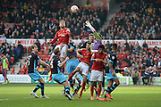 Sheffield Wednesday goalkeeper Keiren Westwood clears the ball during a Forest corner during the Sky Bet Championship match between Nottingham Forest and Sheffield Wednesday at the City Ground, Nottingham, England on 12 March 2016. Photo by Jon Hobley.