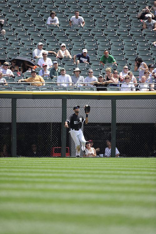 CHICAGO - JULY 08:  Alex Rios #51 of the Chicago White Sox catches a fly ball against the Los Angeles Angels of Anaheim on July 8, 2010 at U.S. Cellular Field in Chicago, Illinois.  The White Sox defeated the Angels 1-0.  (Photo by Ron Vesely)