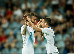Miha Blazic of Slovenia and Miha Zajc of Slovenia of Slovenia celebrate after Zajc scored second goal  for Slovenia during friendly football match between National Teams of Montenegro and Slovenia, on June 2, 2018 in Stadium Pod goricom, Podgorica, Montenegro. Photo by Vid Ponikvar / Sportida