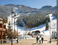 The Whistler Creekside gondola rises from the small village area south of the main village at Whistler, BC Canada.