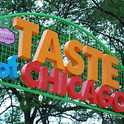 Large entrance sign to the Taste of Chicago street festival.