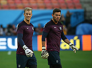 Joe Hart and Ben Foster looks on during the England open training session at Arena da Amazonia, Manaus, Brazil. <br /> Picture by Andrew Tobin/Focus Images Ltd +44 7710 761829<br /> 13/06/2014