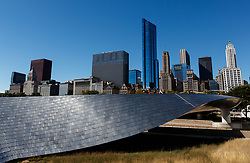 The Chicago skyline viewed from the Frank Gehry designed BP Pedestrian Bridge