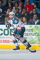 KELOWNA, CANADA - MAY 13: Rourke Chartier #14 of Kelowna Rockets skates against the Brandon Wheat Kings on May 13, 2015 during game 4 of the WHL final series at Prospera Place in Kelowna, British Columbia, Canada.  (Photo by Marissa Baecker/Shoot the Breeze)  *** Local Caption *** Rourke Chartier;