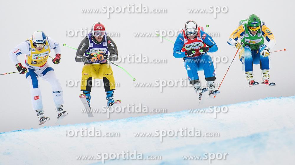22.12.2013, Haunold Innichen, Wien, ITA, FIS Ski Cross Weltcup, Achtelfinale der Herren im Bild Christoph Wahrstoetter (AUT, red), Jouni Pellinen (FIN, yellow), Simon Stickl (GER, blue), John Eklund (SWE, green) // during eight finals of men of FIS Ski Cross World Cup at Haunoldi, San Candido, 2013-12-22, EXPA Pictures © 2013 PhotoCredit: EXPA/ Michael Gruber
