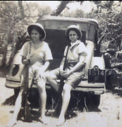 David Meynert Collection.<br /> My two favourite Aunties. ( my<br />      Mum Sylvine's younger sisters).<br />     Aunty Kathleen, married to my<br />     Dad' s ( Shaddy ) younger brother<br />     Travice ( Game Warden Ruhuna<br />      National Park ) on the left.<br />     On the right, is Ninette ( Ninny )<br />     Married to Ashton Duncan, who <br />     You must have known quite well.<br />     Both Aunties armed to the teeth.<br /> All photos taken late nineteen thirties early Nineteen Forties.