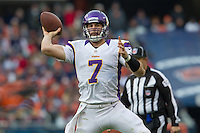 25 November 2012: Quarterback (7) Christian Ponder of the Minnesota Vikings passes the ball against the Chicago Bears during the second half of the Bears 28-10 victory over the Vikings in an NFL football game at Soldier Field in Chicago, IL.