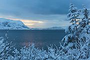 Winter landscape, nesrby Fosnavåg, Norway | Vinterlandskap med Søndre Vaulen i bakgrunnen.