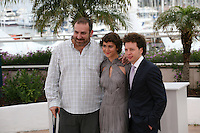 Director Michel Franco, Actress Tessa la Gonzales, Actor Hernán Mendoza at the Despuée De Lucia film photocall at the 65th Cannes Film Festival France. Monday 21st May 2012 in Cannes Film Festival, France.