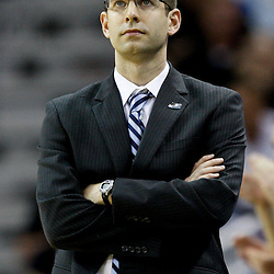 Mar 26, 2011; New Orleans, LA; Butler Bulldogs head coach Brad Stevens against the Florida Gators during overtime in the semifinals of the southeast regional of the 2011 NCAA men's basketball tournament at New Orleans Arena. Butler defeated Florida 74-71.  Mandatory Credit: Derick E. Hingle
