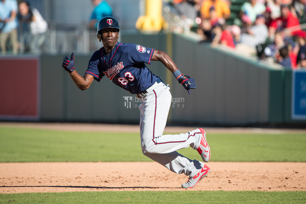 FORT MYERS, FL- FEBRUARY 25: Nick Gordon #83 of the Minnesota Twins runs against the Boston Red Sox on February 25, 2017 at JetBlue Park in Fort Myers, Florida. (Photo by Brace Hemmelgarn) *** Local Caption *** Nick Gordon
