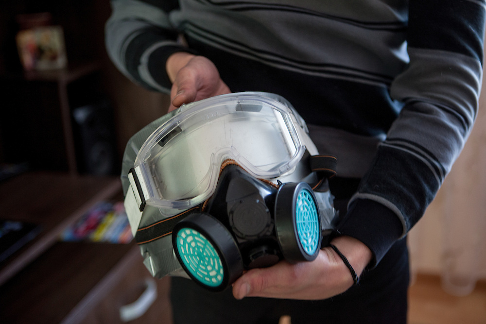 Activist Andrej with protective gear he was using when joining the protest in the capital Kiev, Ukraine.