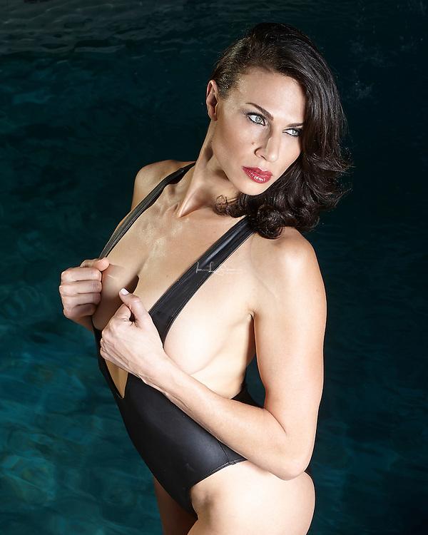 Maria Bertrand poolside in Palm Springs California