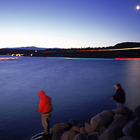 Two fishermen trying their luck from the shore at Lake Crowley in the Eastern Sierras were some of the first to wet their line at 5:00am on April 29, 2000, long before the sun rose.