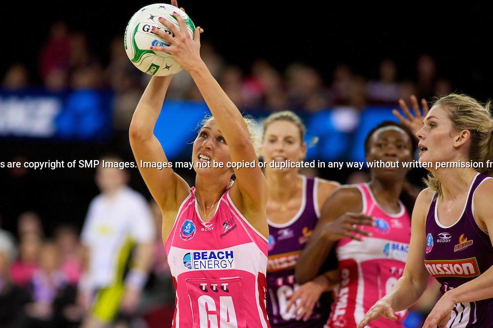 ERIN BELL  - Action from the 2013 ANZ Championship Grand Final between the Adelaide Thunderbirds and Queensland Firebirds played at the Adelaide Entertainment Centre, Adelaide, South Australia, Sunday 14th July, 2013. [Photo: Ryan Schembri - SMP Images]