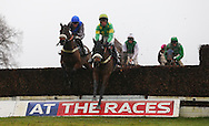 Plumpton, UK. 12th December 2016. <br /> Race winners Sartorial Elegance ridden by Paul O'Brien (Green/Yellow) clear an early fence ahead of Tom Cannon and Coolking (Blue Cap) the G. E. White &amp; Sons Agricultural Buildings Handicap Chase<br /> &copy; Telephoto Images / Alamy Live News
