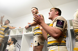 Jack Singleton of Worcester Warriors celebrates during the victory dance as Worcester Warriors win - Mandatory by-line: Dougie Allward/JMP - 19/01/2019 - RUGBY - Sixways Stadium - Worcester, England - Worcester Warriors v Stade Francais - European Rugby Challenge Cup
