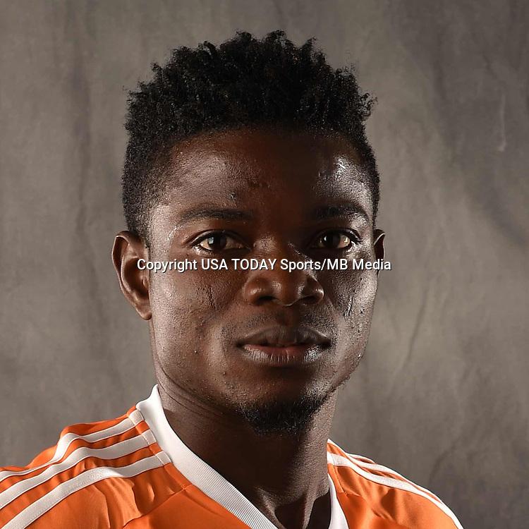 Feb 25, 2016; USA; Houston Dynamo player Rasheed Olabiyi poses for a photo. Mandatory Credit: USA TODAY Sports