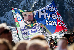 Supporters of Jaka Hvala of Slovenia during the Trial Round of the Ski Flying Hill Individual Competition at Day 1 of FIS Ski Jumping World Cup Final 2019, on March 21, 2019 in Planica, Slovenia. Photo by Vid Ponikvar / Sportida