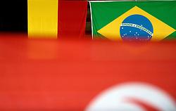 01-10-2014 ITA: World Championship Volleyball Servie - Nederland, Verona<br /> Nederland verliest met 3-0 van Servie en is kansloos voor plaatsing final 6 / Belgische en Braziliaanse vlag