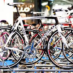 London, UK - 17 January 2013: Pinarello bikes during the London Bike show 2013 at Excel.