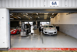 The Parr Motorsport run Bristol Sport Racing Porsche 911 GT3 Cup car of Dino Zamparelli sits in the garage between sessions  - Photo mandatory by-line: Rogan Thomson/JMP - 07966 386802 - 30/01/2015 - SPORT - MOTORSPORT - Towcester, England - Silverstone Circuit - Dino Zamparelli Test Day - Porsche Carrera Cup GB.