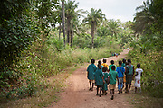 Children walk to school in Moribaya village, Magbema chiefdom, Kambia district, Sierra Leone on April 3, 2017.