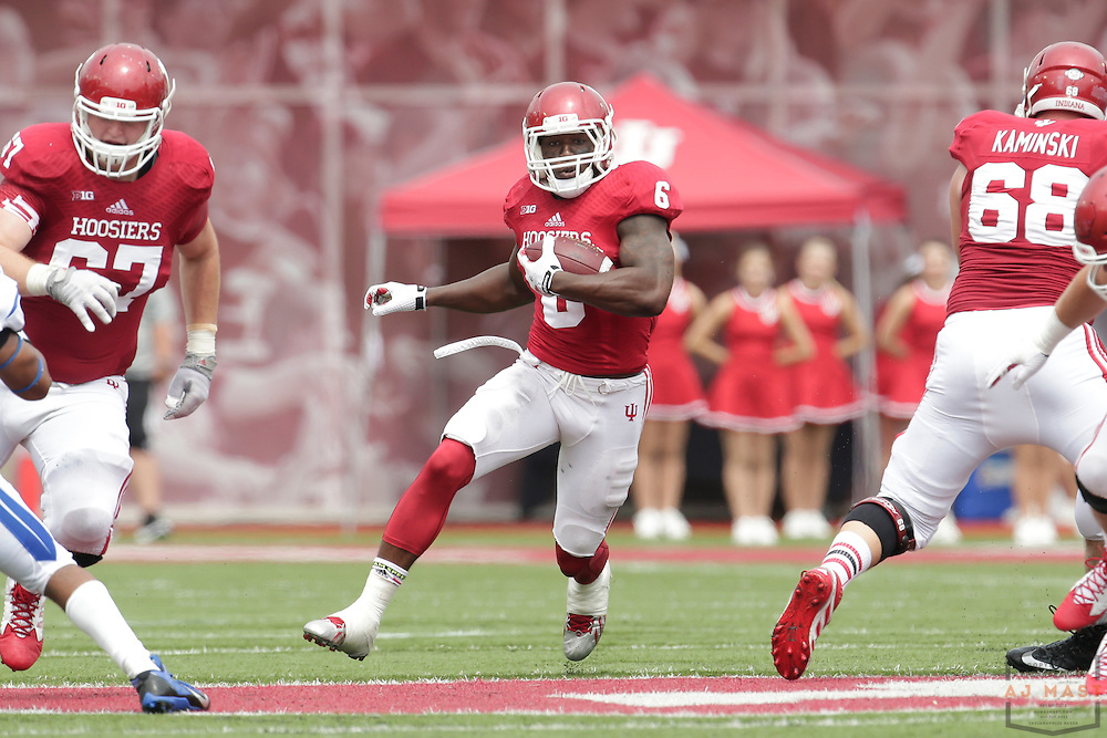 Indiana Hoosiers running back Tevin Coleman (6) as the Indiana Hoosiers played the Indiana State Sycamores in a college football game in Bloomington, IN.