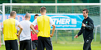 01/07/14<br /> CELTIC TRAINING<br /> AUSTRIA<br /> Celtic manager Ronny Deila casts an eye over training