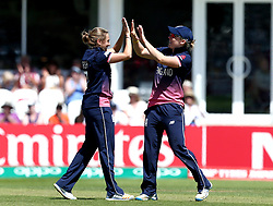 Laura Marsh of England Women celebrates with Heather Knight of England Women after taking the wicket of Eshani Lokusooriya of Sri Lanka Women - Mandatory by-line: Robbie Stephenson/JMP - 02/07/2017 - CRICKET - County Ground - Taunton, United Kingdom - England Women v Sri Lanka Women - ICC Women's World Cup Group Stage