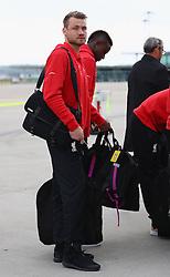 BASEL, SWITZERLAND - MAY 16: Liverpool's goalkeeper Simon Mignolet arrives at Basel airport ahead of the UEFA Europa League Final against Sevilla. Alberto Moreno, Jordon Ibe, James Milner, Daniel Sturridge. (Photo by UEFA/Pool)