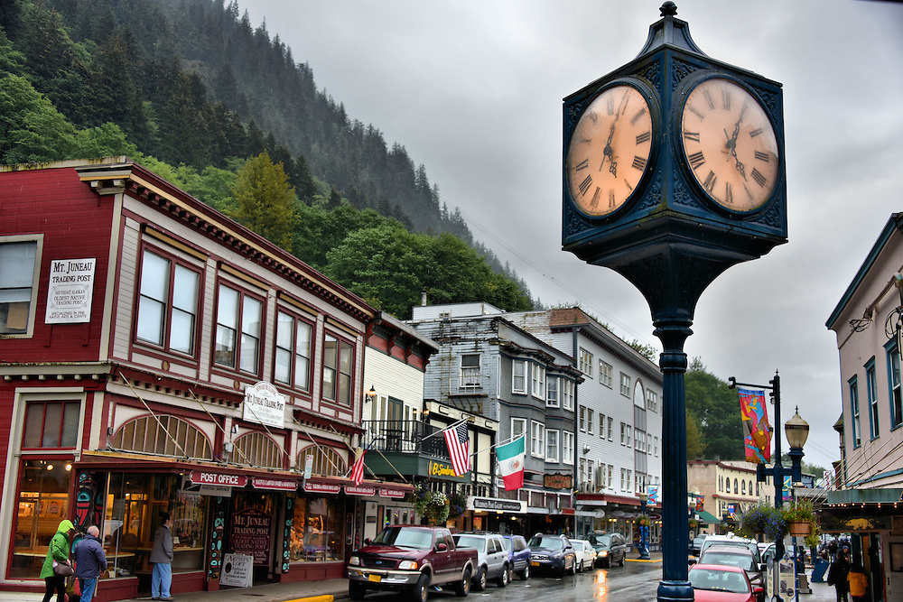 Franklin Street and Corner Clock in Downtown Juneau, Alaska <br />