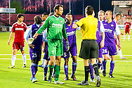 Onderwerp/Subject: Willem II - Jupiler League<br /> Reklame:  <br /> Club/Team/Country: Willem II<br /> Seizoen/Season: 2011/2012<br /> FOTO/PHOTO: Goalkeeper David MEUL (L) of Willem II and Mitchell PIQUE (LL) of Willem II and Marlon PEREIRA ( Marlon Pereira FREIRE ) (C) of Willem II and Ruud VAN DER RIJT (R) of Willem II and Niek VOSSEBELT of Willem II argue with Referee Merlijn GERRITSEN (FRONT) after he gives a penalty. (Photo by PICS UNITED)<br /> <br /> Trefwoorden/Keywords: <br /> #03 #04 #05 #08 #18 $94 ±1324460718817<br /> Photo- & Copyrights © PICS UNITED <br /> P.O. Box 7164 - 5605 BE  EINDHOVEN (THE NETHERLANDS) <br /> Phone +31 (0)40 296 28 00 <br /> Fax +31 (0) 40 248 47 43 <br /> http://www.pics-united.com <br /> e-mail : sales@pics-united.com (If you would like to raise any issues regarding any aspects of products / service of PICS UNITED) or <br /> e-mail : sales@pics-united.com   <br /> <br /> ATTENTIE: <br /> Publicatie ook bij aanbieding door derden is slechts toegestaan na verkregen toestemming van Pics United. <br /> VOLLEDIGE NAAMSVERMELDING IS VERPLICHT! (© PICS UNITED/Naam Fotograaf, zie veld 4 van de bestandsinfo 'credits') <br /> ATTENTION:  <br /> © Pics United. Reproduction/publication of this photo by any parties is only permitted after authorisation is sought and obtained from  PICS UNITED- THE NETHERLANDS