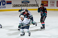 KELOWNA, CANADA - OCTOBER 10: Kyle Topping #24 of the Kelowna Rockets calls for the puck behind Graeme Bryks #37 of the Seattle Thunderbirds  on October 10, 2018 at Prospera Place in Kelowna, British Columbia, Canada.  (Photo by Marissa Baecker/Shoot the Breeze)  *** Local Caption ***