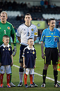Scotland captain Paul Hanlon and mascot - Scotland v Holland - UEFA U21 European Championship qualifier at St Mirren Park..© David Young - .5 Foundry Place - .Monifieth - .Angus - .DD5 4BB - .Tel: 07765 252616 - .email: davidyoungphoto@gmail.com.web: www.davidyoungphoto.co.uk
