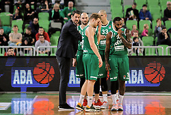 Jurica Golemac, head coach of Olimpija with players during basketball match between KK Cedevita Olimpija and KK Zadar in Round #19 of ABA League 2019/20, on February 8, 2020 in Arena Stozice, Ljubljana, Slovenia. Photo by Vid Ponikvar / Sportida