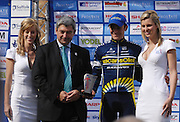 UK, September 17 2010: Borut Bozic (Vacansoleil), winner of the stage, on the podium in Colchester at the finish of Stage 7, Bury St Edmonds to Colchester, of the 2010 Tour of Britain Cycle Race. Copyright 2010 Peter Horrell