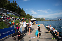 Iztok Cop talking and in boat Jüri Jaanson, Vaclav Chalupa and Davor Mizerit during rowing at Slovenian National Championship and farewell of Iztok Cop, on September 22, 2012 at Lake Bled, Ljubljana Slovenia. (Photo By Matic Klansek Velej / Sportida)
