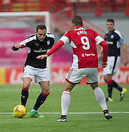 Dundee&rsquo;s Tom Hateley take on Hamilton&rsquo;s Alexandre D'Acol - Hamilton v Dundee in the Ladbrokes Scottish Premiership at Superseal stadium, Hamilton. Photo: David Young<br /> <br />  - &copy; David Young - www.davidyoungphoto.co.uk - email: davidyoungphoto@gmail.com