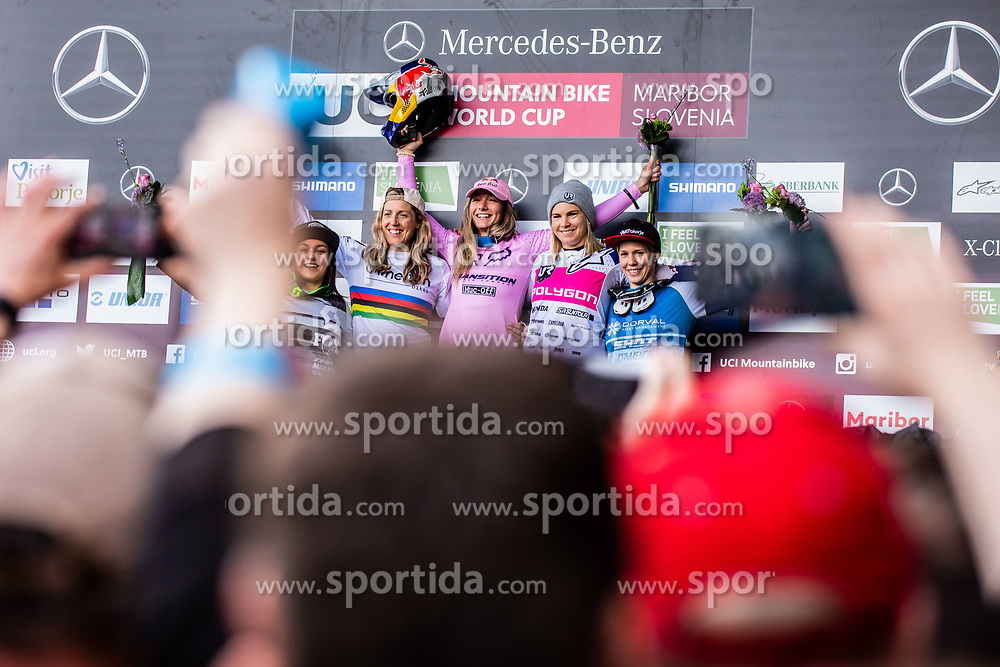 Marine Cabirou of France, Rachel Atherton of Great Britain, Tahnee Seagrave of Great Britain, Tracey Hannah of Australia and Monika Hrastnik of Slovenia during trophy ceremony at Mercedes-Benz UCI Mountain Bike World Cup competition final day in Bike Park Pohorje, Maribor on 28th of April, 2019, Slovenia.  . Photo by Grega Valancic / Sportida